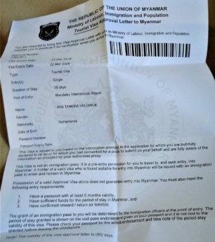 28 days e-visa letter myanmar example