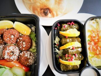 Halab falafel platter dolma grape leaves hummus beiruti pita Penang vegetarian food