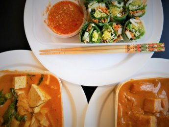 Sukho Thai phanaeng massuman curry penang vegetable rolls