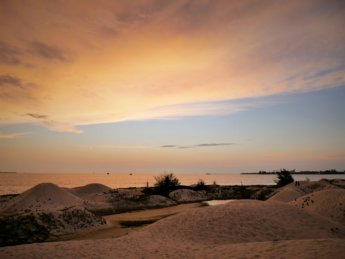 Sunset strait of Malacca Melaka sand dunes