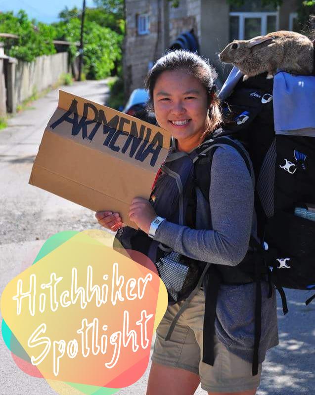 Hitchhiker Spotlight intro Yinj Tan Malaysian hitchhiker with bunny