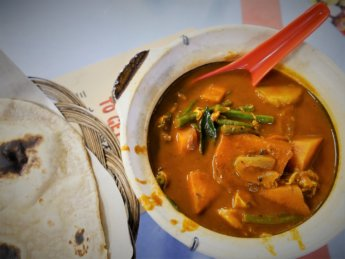Indian meal sky 88 food court vegetarian egg gravy chapati curry spicy Johor Bahru Malaysia