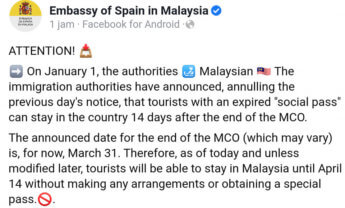 spain announcement MCO imigration Malaysia