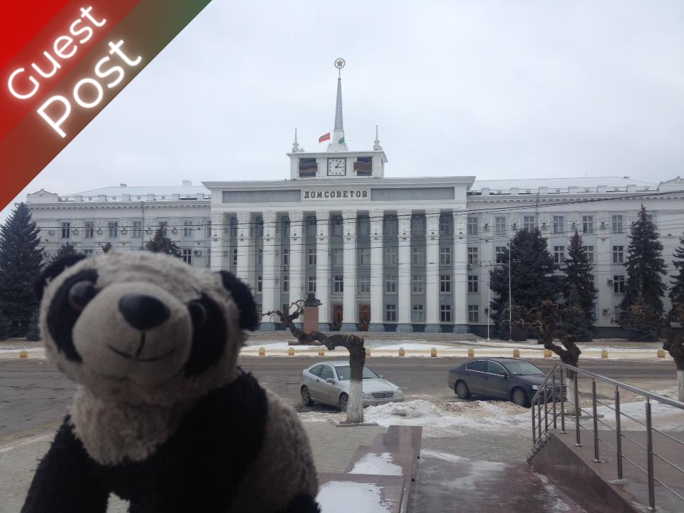 transnistria guest post Heidi Koelle Dom Sovyetsov Tiraspol House of Soviets: Tiraspol with an appearance from Dieter the Panda, my travel mascot