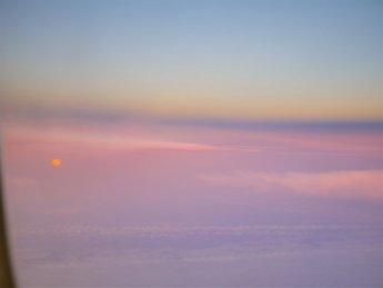 Flight sunset São Miguel Azores to Lisbon delayed