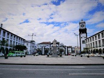 Ponta Delgada city center portas da cidade ilha São Miguel Azores Portugal