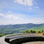 motorbike scooter rental São Miguel island Ponta Delgada Azores viewpoint miradouro road trip CLOSEUP
