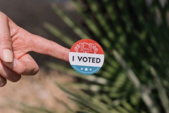 philip goldsberry I voted sticker us elections stock photo