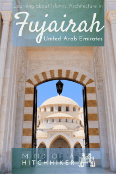 Want to visit a mosque but you aren't a Muslim? This is one spectacular mosque to visit in the UAE: the Sheikh Zayed Grand Mosque in Fujairah on the east coast. Read the post to learn more! #UAE #UnitedArabEmirates #GulfofOman #Fujairah #mosque #Islam #Muslim #NonMuslim #islamicarchitecture #architecture #ottoman #moorish #ottomanarchitecture #minaret #dome #cupola #guidedtour #GrandMosque #travel