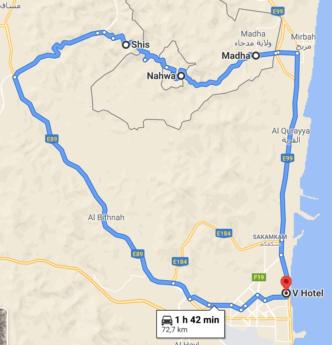 Screen Shot route trip map Fujairah Madha and Nahwa Shis Omani donut hole