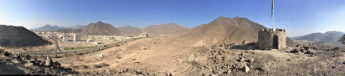 23 Madha Oman exclave panorama tower waterfall Sultan road Hajar Mountains UAE Nahwa