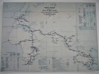 9 old flight map imperial airways mail delivery stop in Sharjah