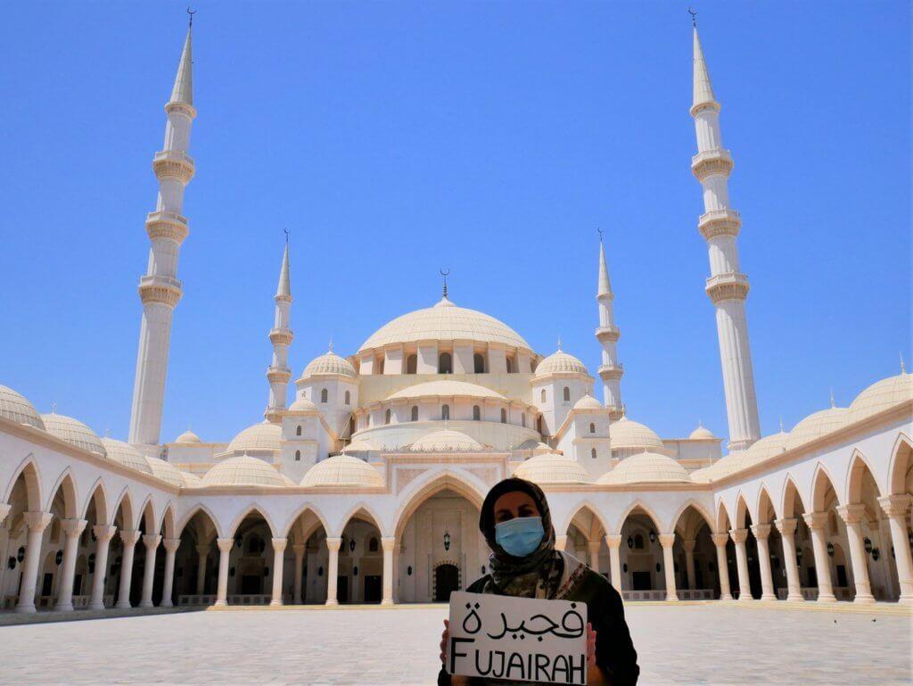 20 Iris Fujairah hitchhiking sign Sheikh Zayed Grand Mosque