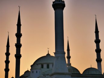 3b sunset fujairah mosque six minarets domes ottoman style