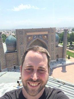 Selfie top of Ulugh Beg madrasah minaret Samarkand Uzbekistan