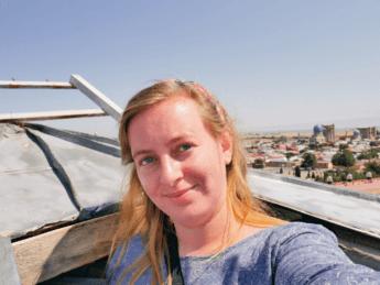 climbing minaret ulugh beg madrasah selfie