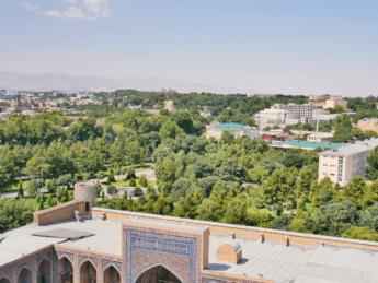 gur-e-amir mausoleum vista from registan viewpoint minaret