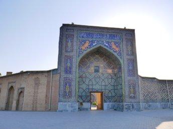 17 vaulted door entrance Uzbekistan architecture Nadir Divan-Begi Madrasah in Samarkand