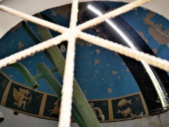 interior of abandoned observatory samarkand zodiac ceiling