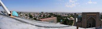 Registan Ulugh Beg Madrasah minaret climb panorama