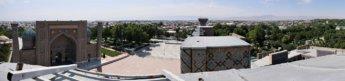Registan Ulugh Beg Madrasah minaret climb panorama vista