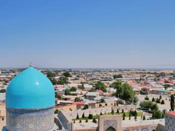 tillya kori madrasah vista minaret uzbekistan samarkand registan