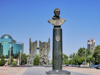 1 Dzhanibekov bust statue outside metro station Tashkent Uzbekistan