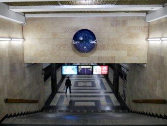 4 platform Kosmonavtlar decoration space themed subway metro station Tashkent Uzbekistan