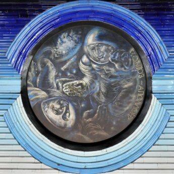 soyuz - apollo meet in space cosmonauts astronauts metro station tashkent uzbekistan