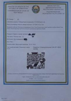 negative covid-19 PCR test results Uzbekistan Swiss Lab Tashkent international travel