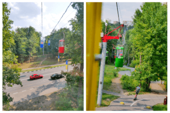cable car ukraine eastern primary colors crossing road gorky park