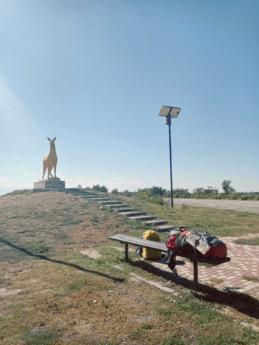 hitchhiking henichesk kyrylivka southern ukraine golden deer statue